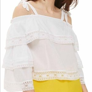 TopShop white off the shoulder ruffle top